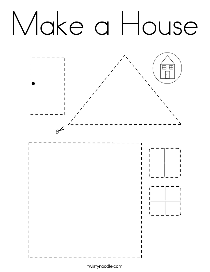 Make a House Coloring Page - Twisty Noodle in 2020 | Kraf