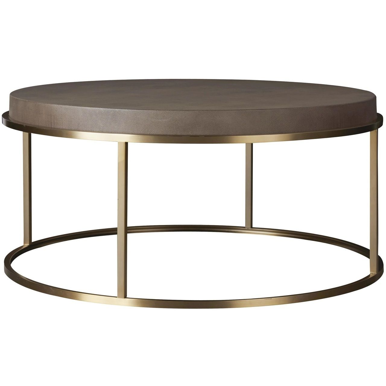 Portobello Modern Shagreen Brass Round Coffee Table 42 Brass