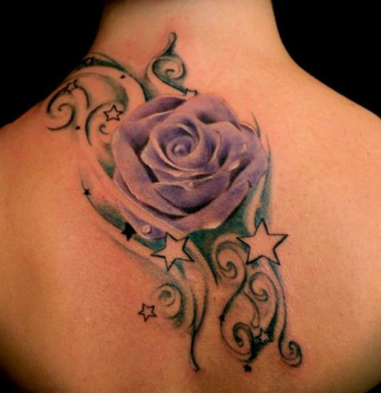 Rose with stars neck tattoo