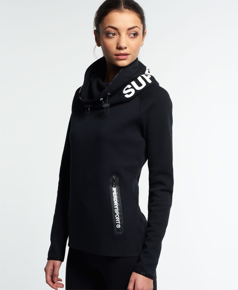 new product 59105 fc30f Superdry Gym Tech Cowl Hoodie Schwarz | Sport dress in 2019 ...