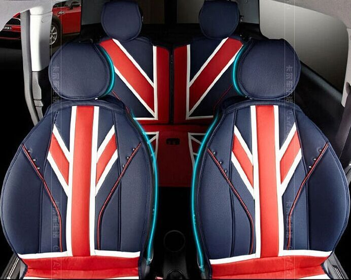 Red Union Jack Leather Four Seasons Leather Car Seat Covers For Mini Cooper S Convertible R56 Count Mini Cooper Accessories Mini Cooper Leather Car Seat Covers