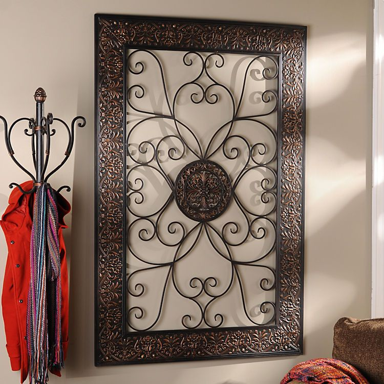Embossed Scroll Plaque Iron Wall Decor Wrought Iron Wall Decor Decor