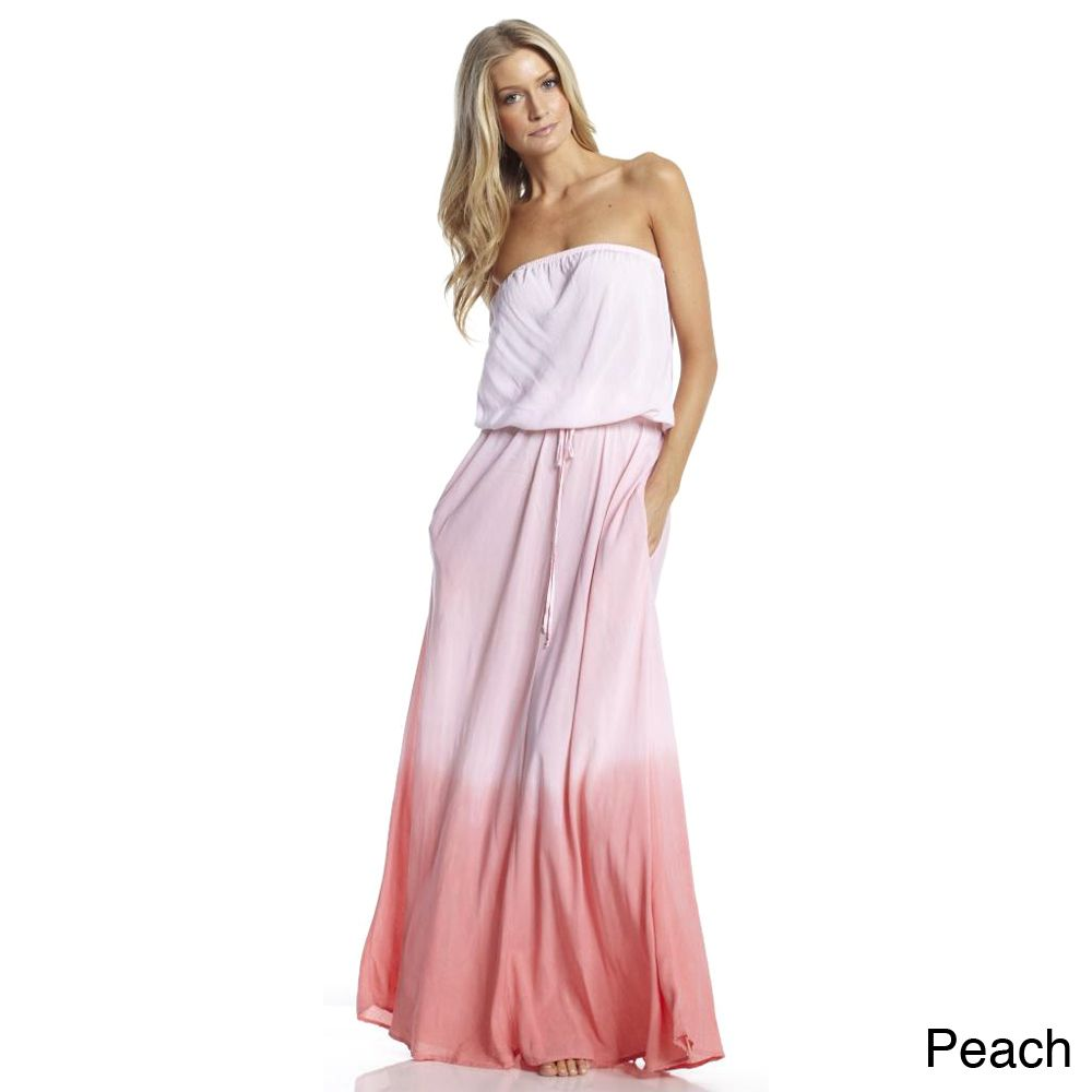 bef5f0fdaff36 Elan Women's Ombre Dyed Strapless Maxi Dress | Overstock.com Shopping - The  Best Deals on Casual Dresses