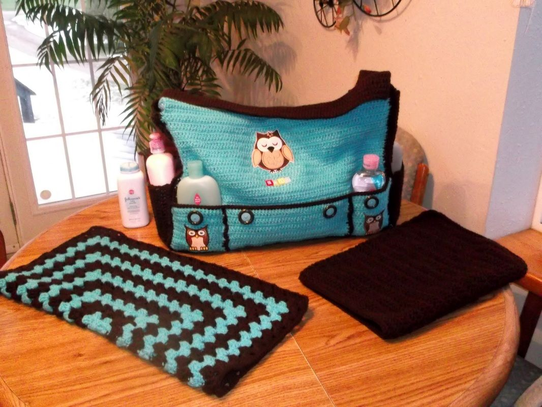 Crochet Diaper Bag With Matching Blanket And Changing Pad Made To