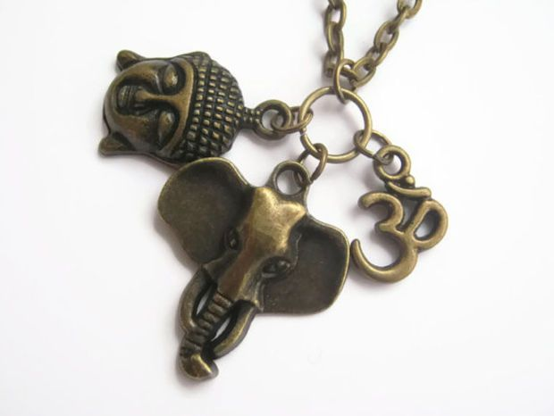 Buddha Elephant Om Necklace, Buddhist Necklace, India Hindu Necklace, Yoga Inspired, Ganesh, 24 inches, Choose Your Length, Bronze