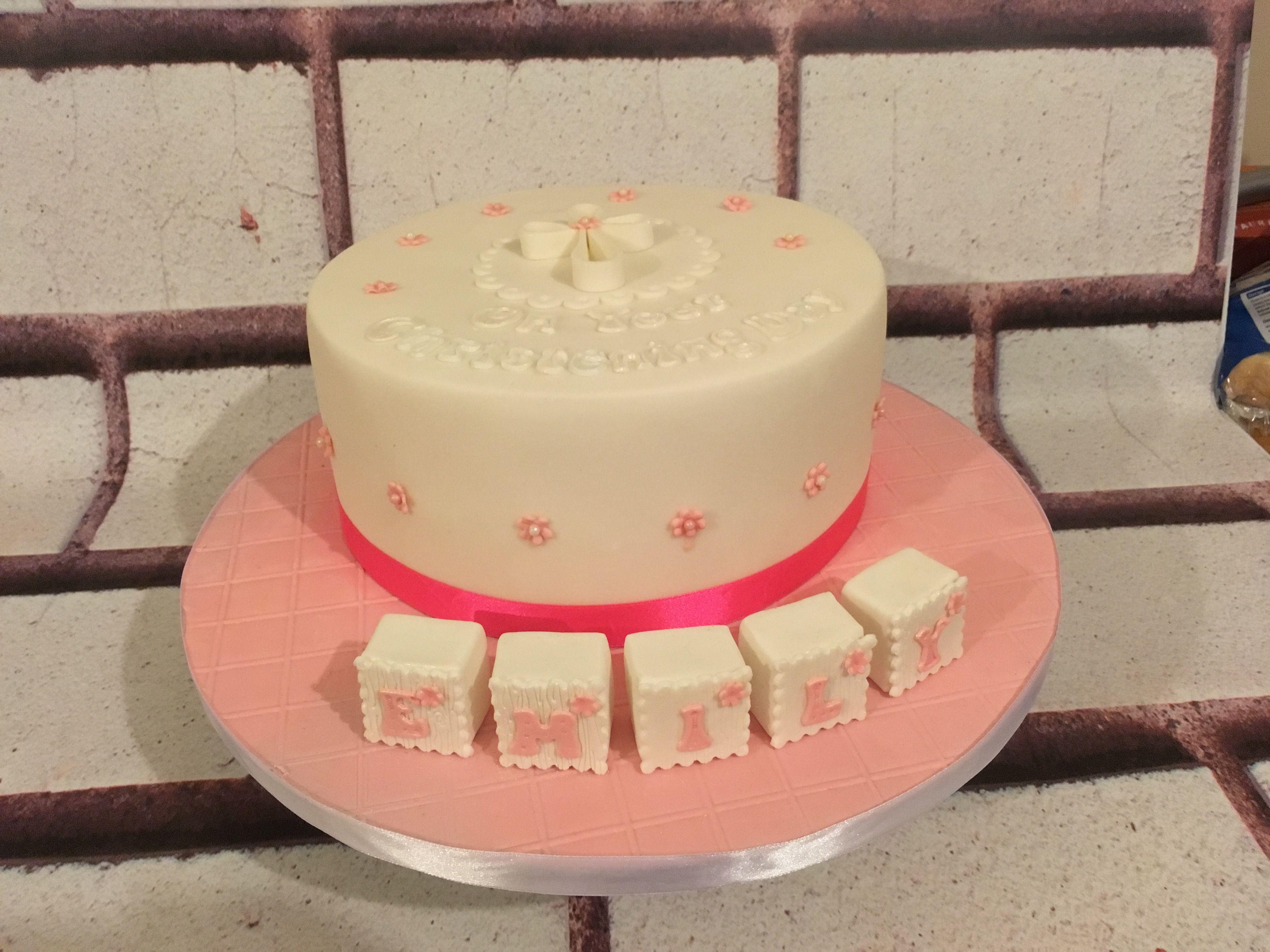 Christening Cake for a baby girl, pink and white cake, red velvet