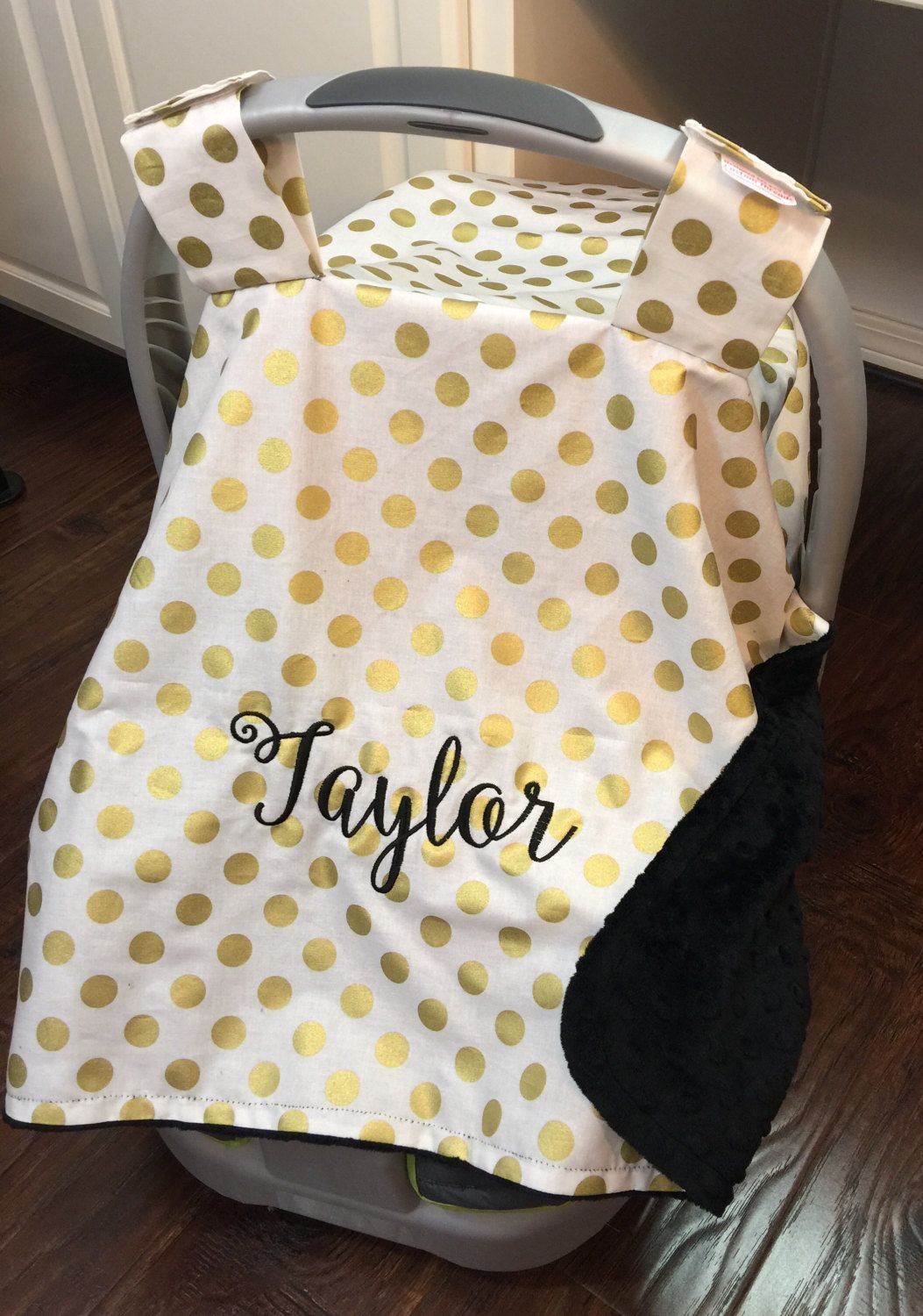 Personalized baby girl car seat canopy monogrammed gold dot with black minky by CustomThreadsShop on & Personalized baby girl car seat canopy monogrammed gold dot with ...