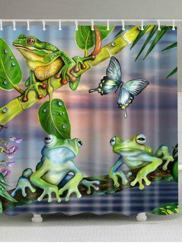 Bathroom Decoration Frog Print Shower Curtain Pink Shower
