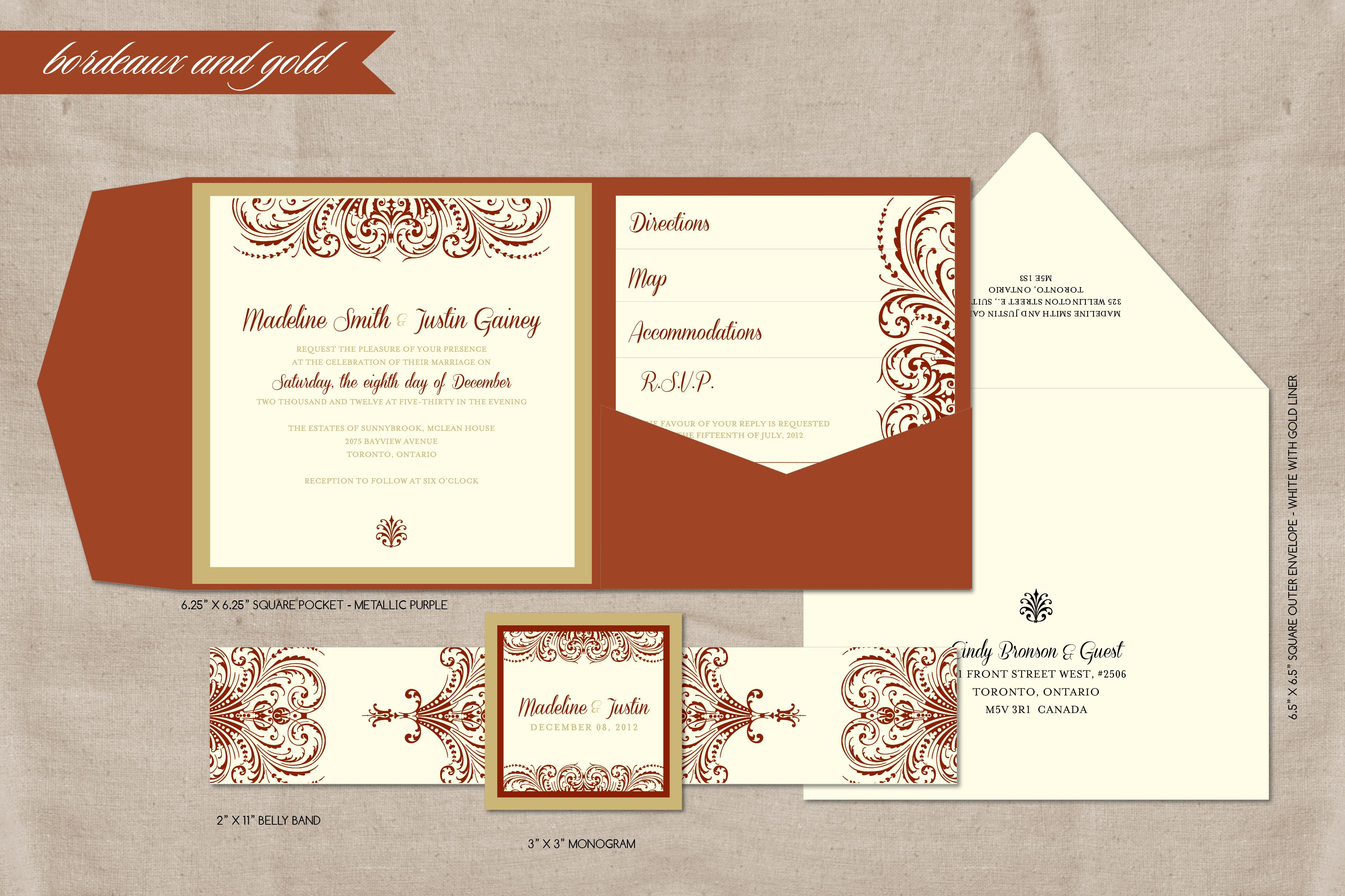 Beautiful bordeaux and gold pocket wedding invitation. | Invitations ...