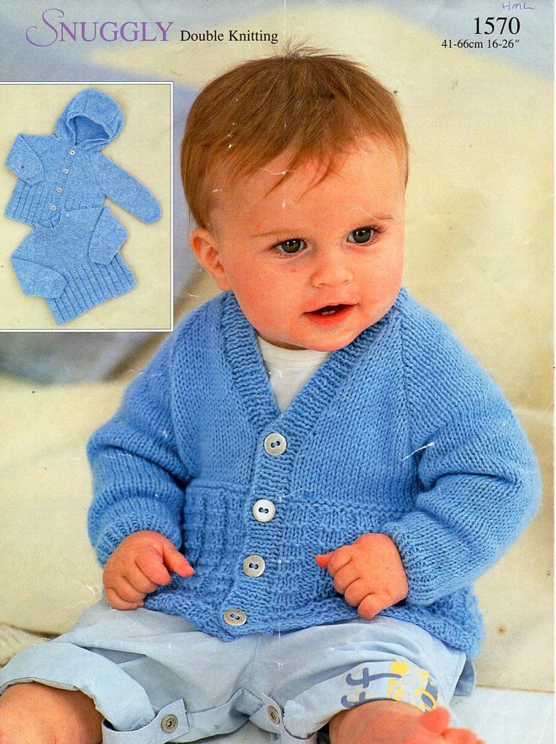 61b2871da220 baby childs sweater cardigan hooded jacket knitting pattern PDF DK ...
