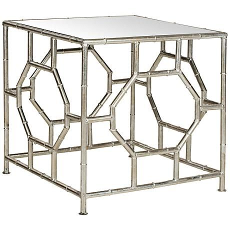 This Mirror And Silver Leaf Accent Table Is A Durable And Versatile Accent  For A Living