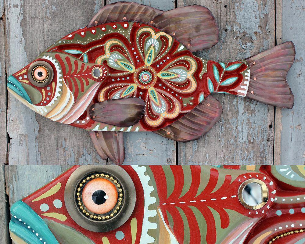 Rachellaundonart Folk Art Fish Fish Wall Art Fish Painting
