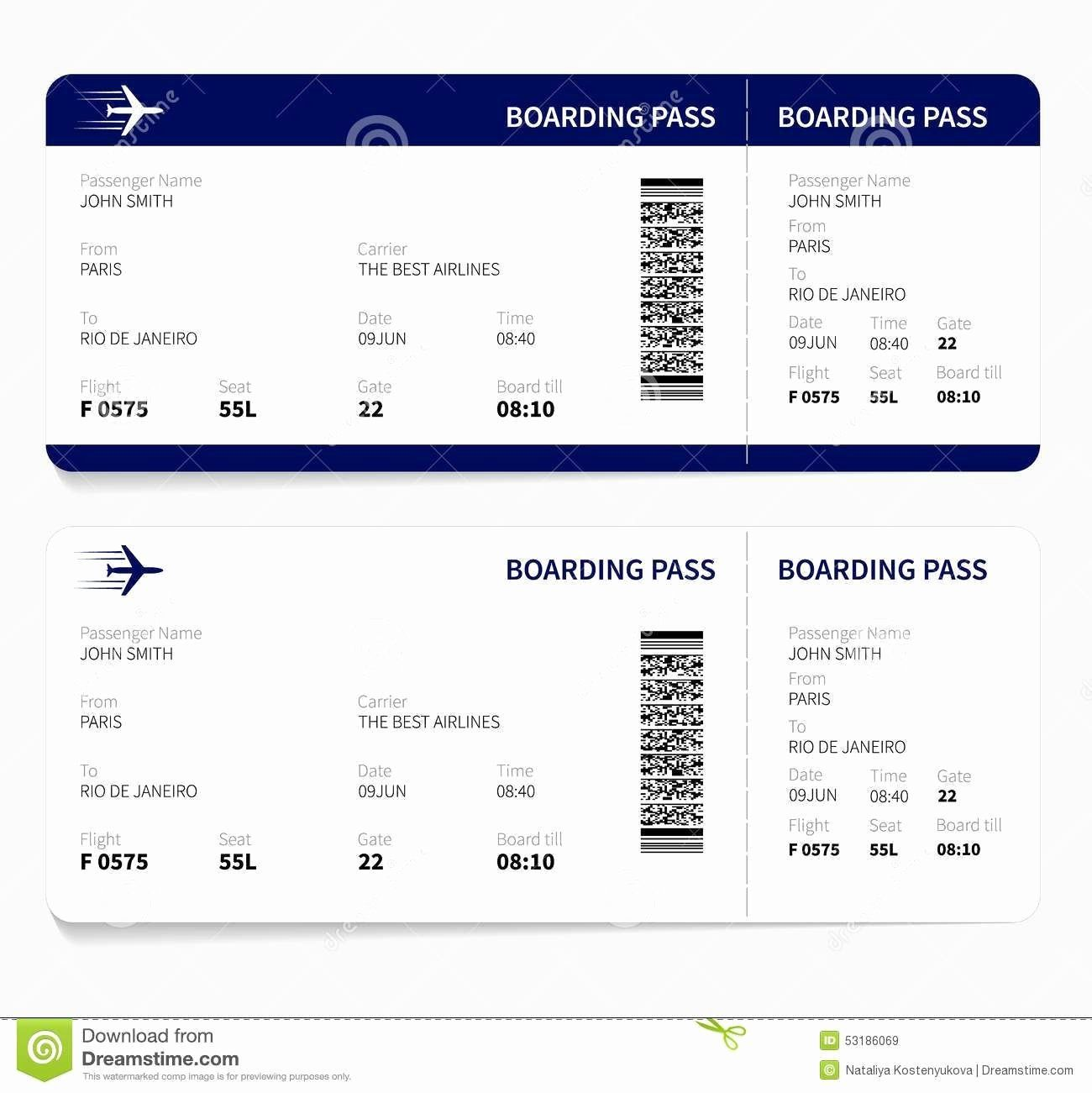 Plane Ticket Template Pdf Beautiful Airline Ticket Template Free Sample  Customer Service in 2020 | Boarding pass template, Fake plane ticket, Ticket  template free