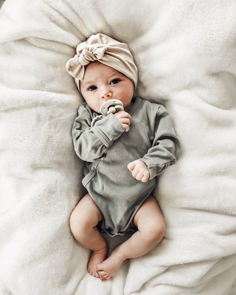 Oatmeal Hat: (jersey) w/ Top Knot – baby girl hat, baby turban, newborn hat, tan baby hat, hospital hat, baby bow hat, turbans for tots