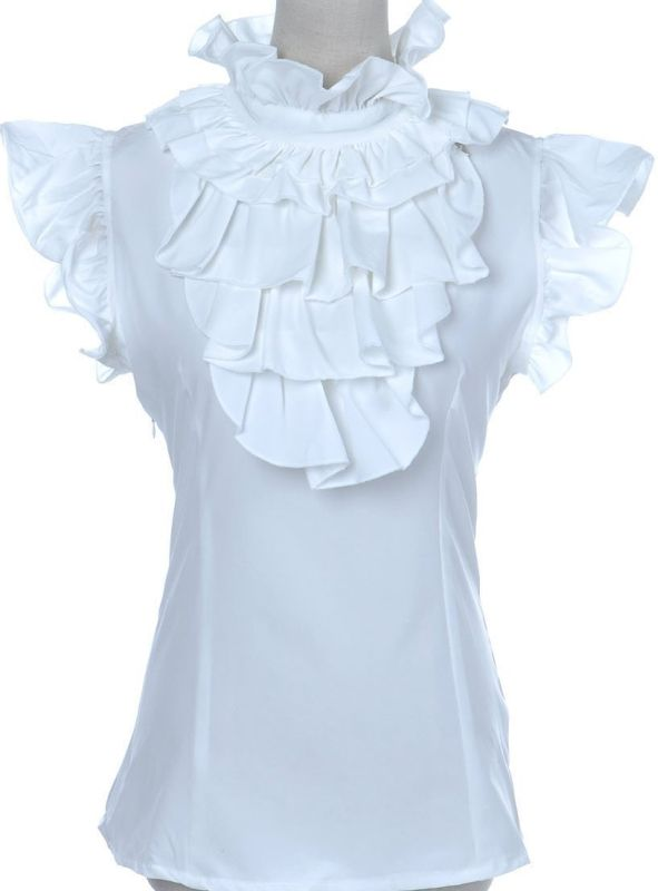 Elegant Top  - Anna-Kaci S/M Fit White Elegant Ruffle Judge Collar and Capped Sleeve Fitted Top   Link    #fashion #women #womenfashion
