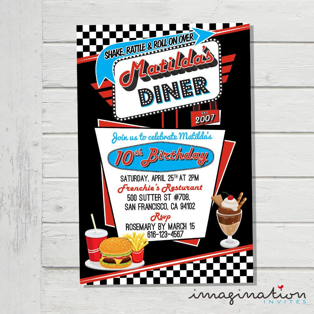 50\'s Diner Invitation Birthday Party Rock \'n\' Roll Sock Hop Retro ...
