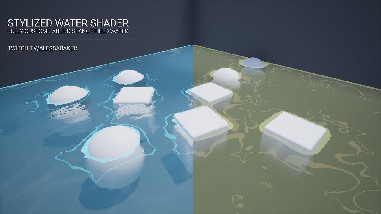 UE4] Stylized Water Shader (Distance Fields) | Water | Water, Fields