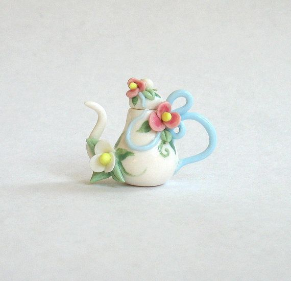 OOAK miniature Blue Ribbon & fleurs théière par par ArtisticSpirit