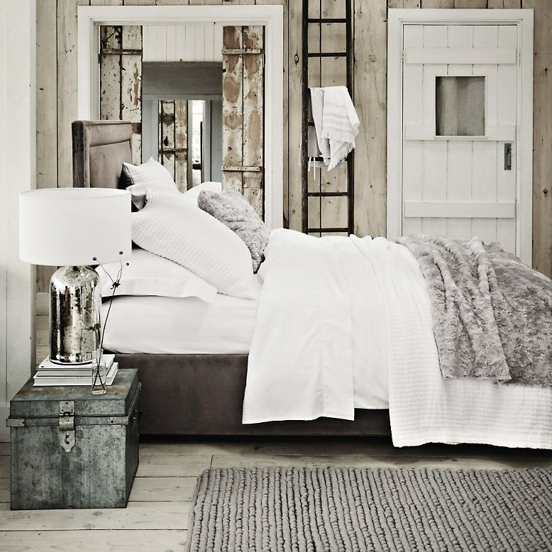 Textured Faux Fur Throw Silver The White Company Bedroom
