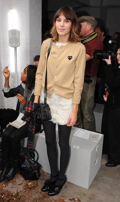 alexa chung; comme des garçons beige cardigan. Available at Hervia - http://www.hervia.com/womens-c1/clothing-c78/knitwear-c29/play-womens-black-heart-classic-cardigan-camel-p2554 #cdg #commedesgarcons #PLAY