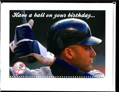 Ny Yankees Derek Jeter Happy Birthday Greeting Card Birthday