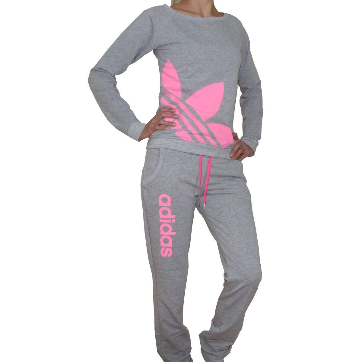 5cbe9f3384be Pink and Gray Adidas Track Suit