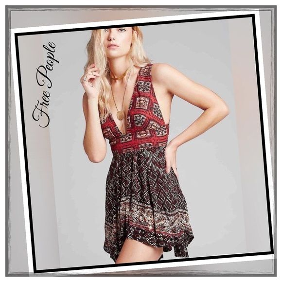 ✨Free People Heat Wave Tank✨ ✨Beautiful Free People Top With Deep V-Back And Deep V Neckline✨Lovely Lace-Up Detailing And Beautiful Color Palette✨Very Light And  Flowing Crepe Skirt✨NWTS pSize Large✨ Free People Tops Tank Tops