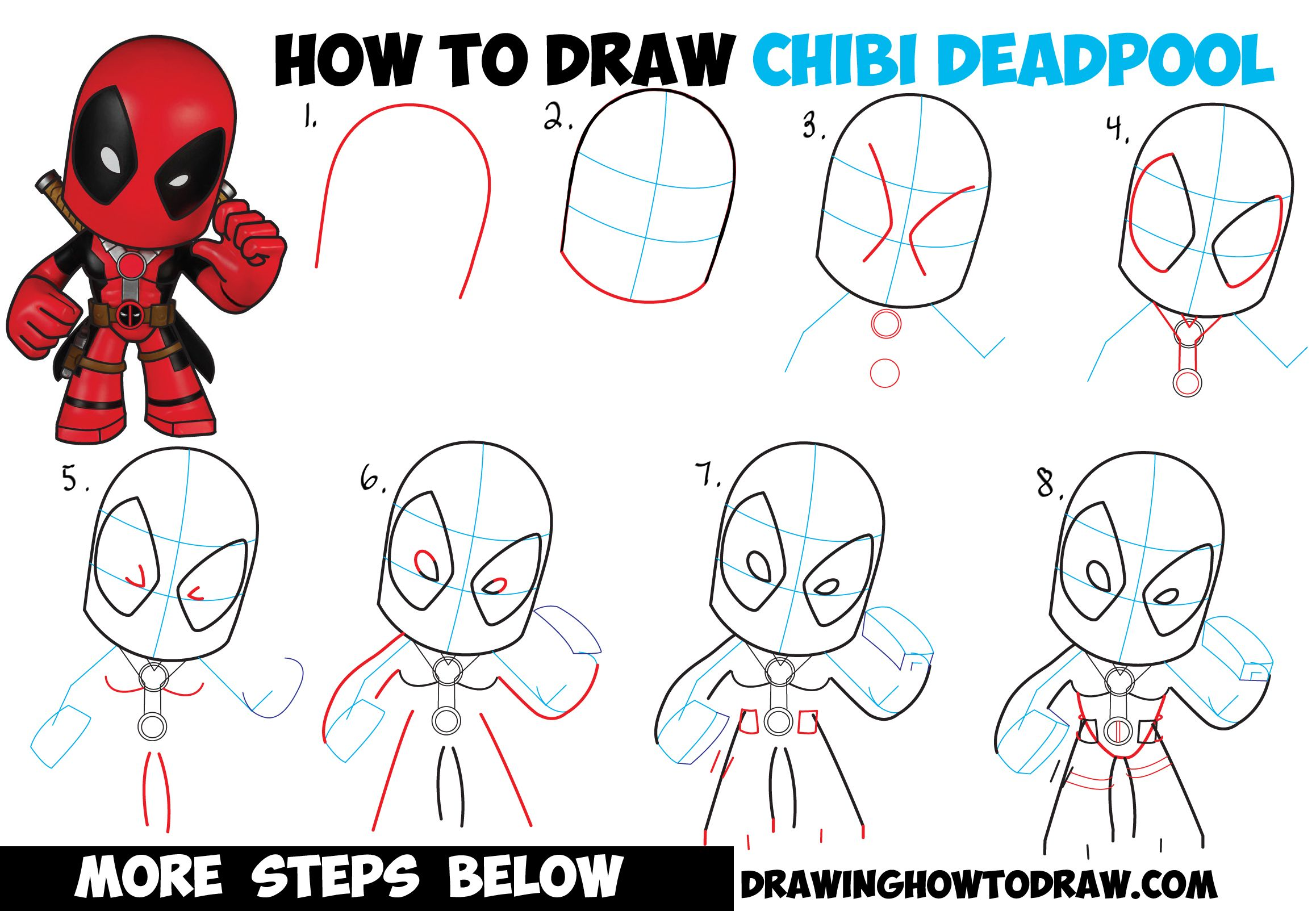 Dibujos De Deadpool: How To Draw Chibi Deadpool Easy Step By Step Drawing Tutorial