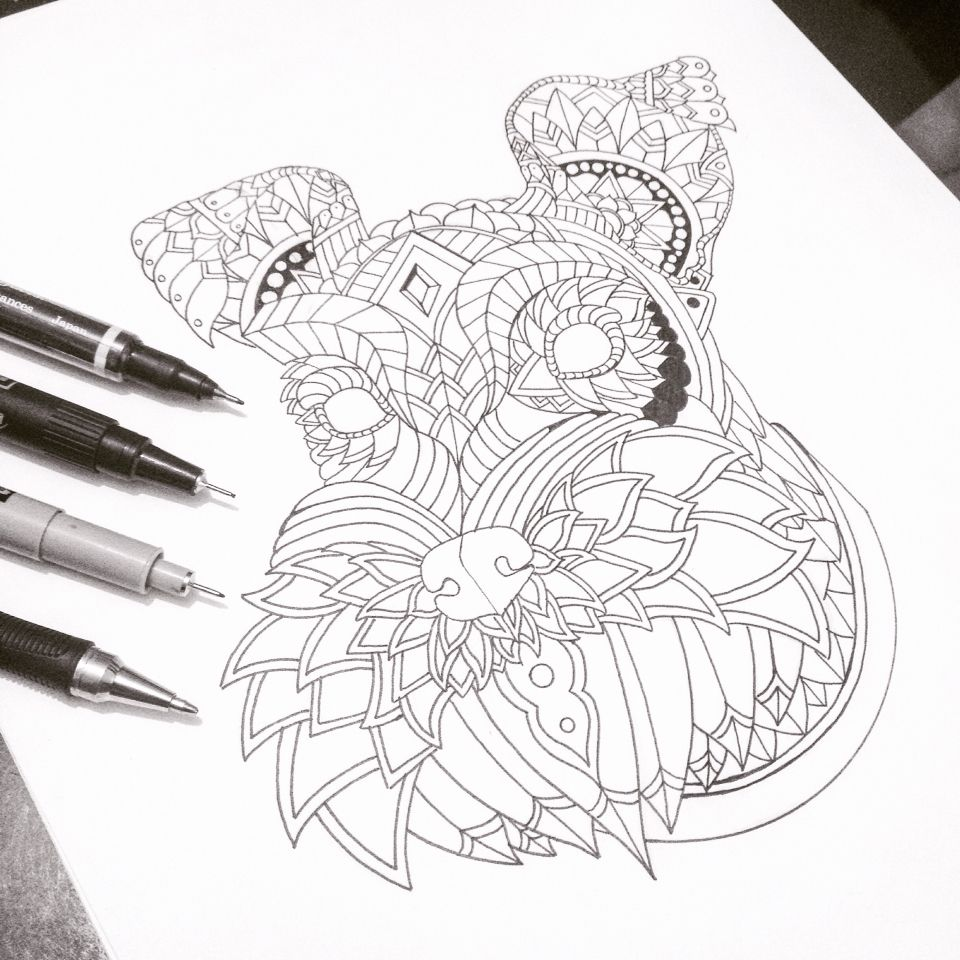 Ornate Schnauzer From My Decorative Dogs Adult Coloring Book See It Here