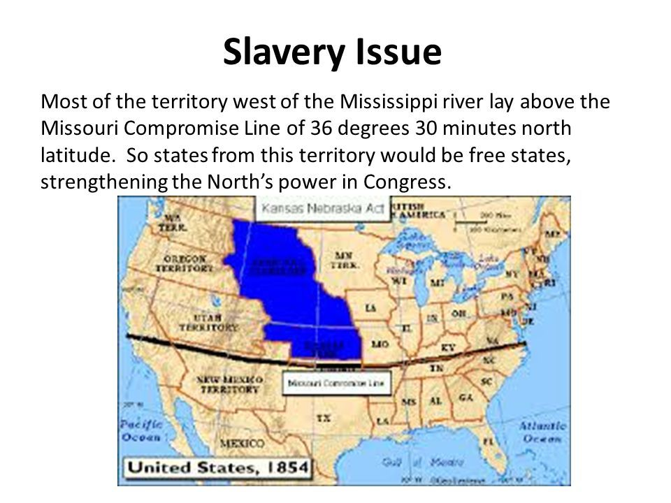Slavery Issue Most of the territory west of the Mississippi river ...