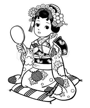 Japanese Girl Dressed As Geisha Japanese Drawings Coloring