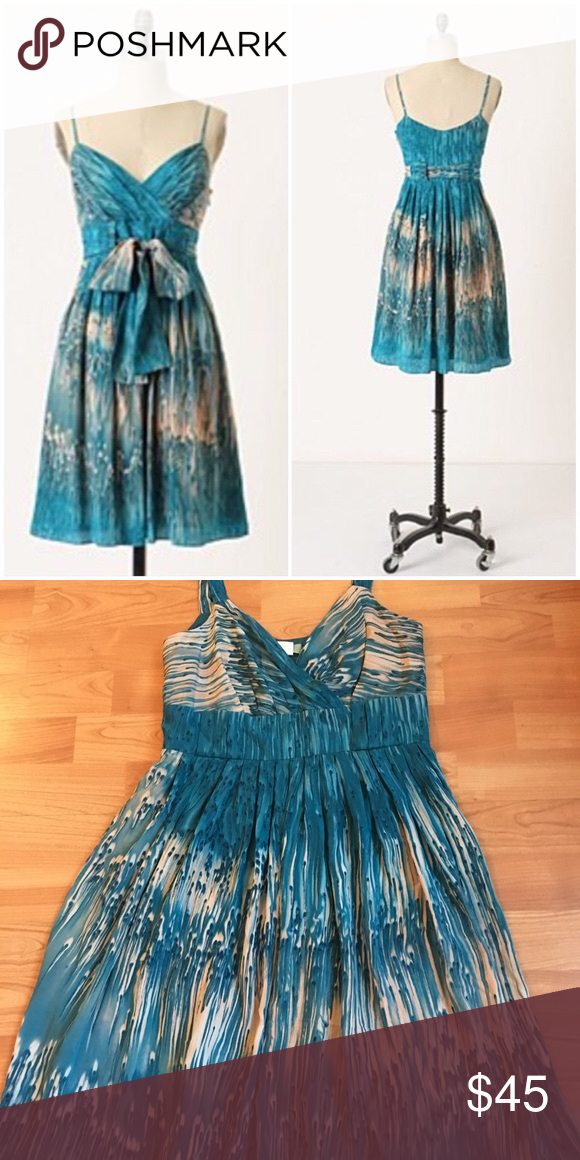 54f5cde84f708 Anthropologie Lil Caballo Falls Blue Silk Dress 4 This is a beautiful Lil  Dress in size 4, does not include the belt Anthropologie Dresses