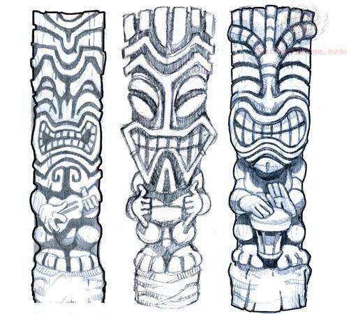e10ebb4c42c1b Tiki Mask Tattoos Design   Craft - Draw   Tiki tattoo, Tiki head ...