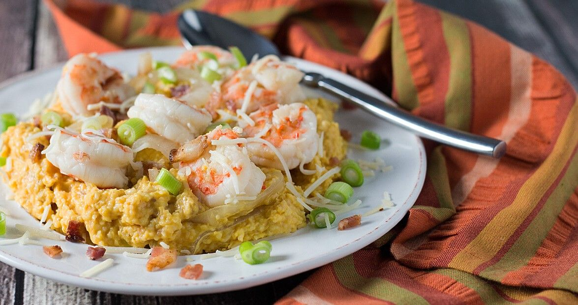 Beer poached shrimp and pumpkin grits lowes food ale and recipes beer ale poached shrimp and pumpkin grits our state magazine and lowes food recipe forumfinder Choice Image
