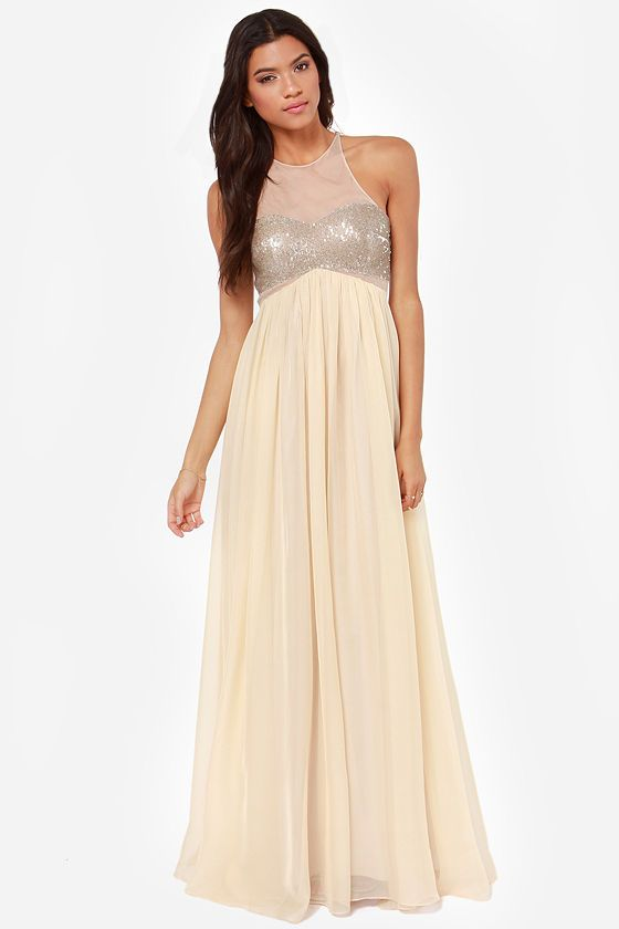 Bariano Janet Gold Sequin Maxi Dress
