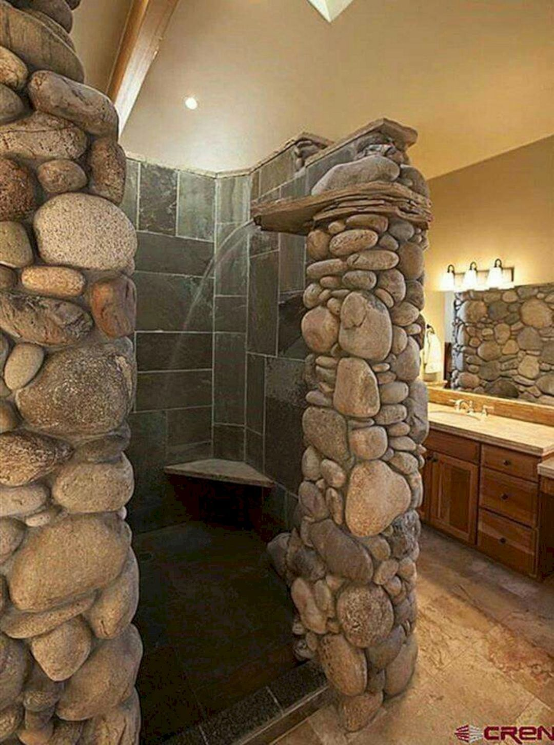 Rustikale Bäder Inspiring 45+ Amazing Rock Wall Bathroom You Need To Impersonate Https://decoredo.com/13316-45-amazing-rock-wall… | Rustikale Bäder, Badezimmer Rustikal, Duschideen