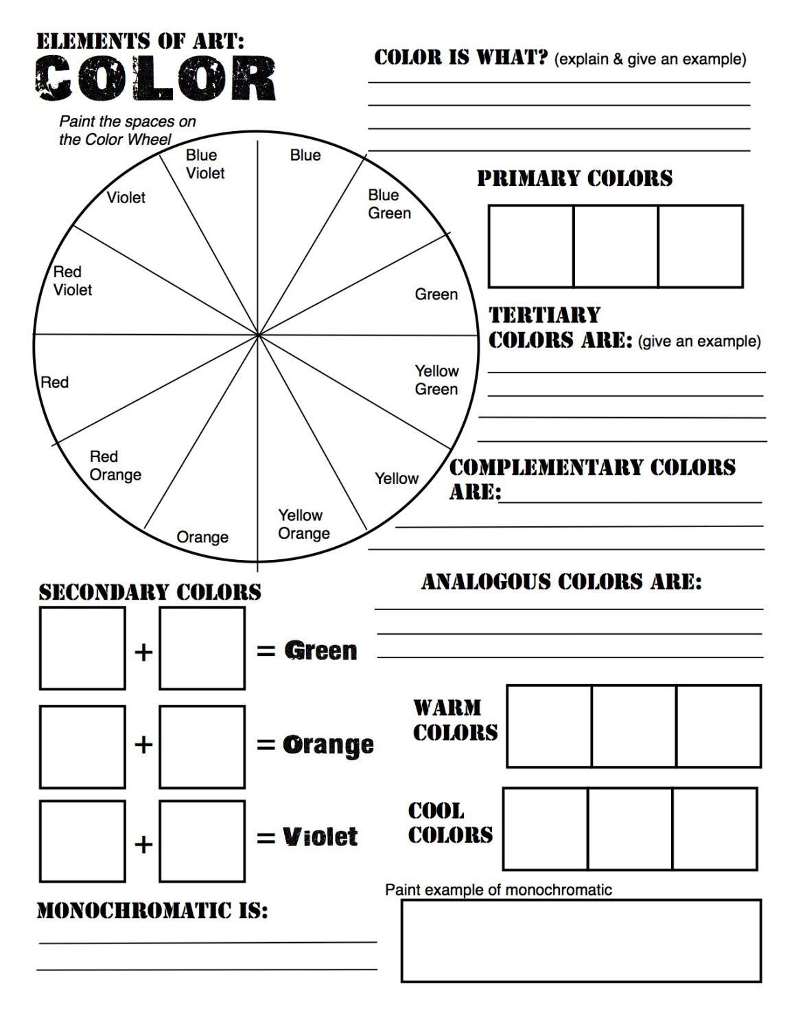Graded Assignment Color Theory Worksheet
