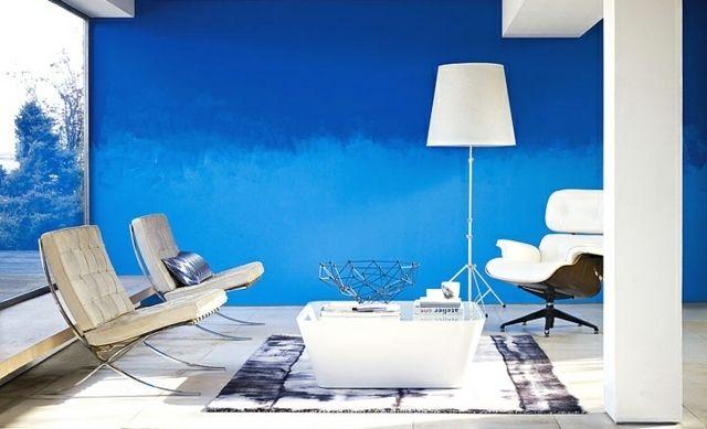 Ombre Wand Wohnzimmer Blau Farben Verblenden