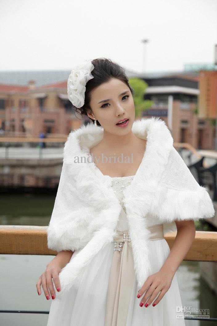 Wholesale Grogeous White Winter Velvet Faux Fur Lacing Bridal Wraps Wedding Dress Shawls Free