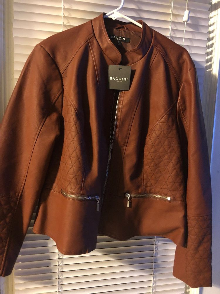 7bc3c4ff0 Baccini Womens Faux Leather Jacket Cinnamon/Brown XL #fashion ...