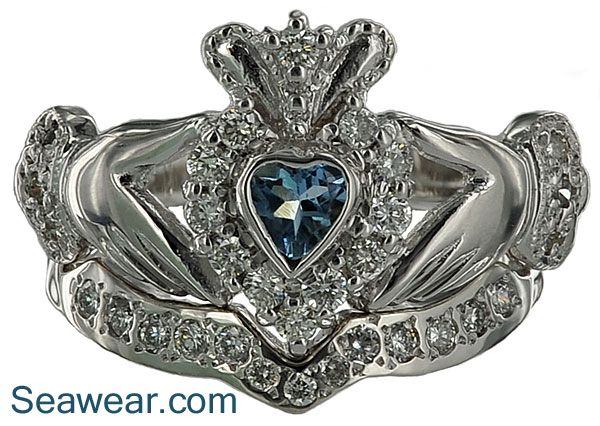 seawear imports custom claddagh wedding rings bands and wedding ring sets - Claddagh Wedding Ring Sets