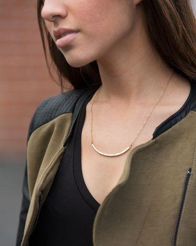 arc gold necklace + olive jacket