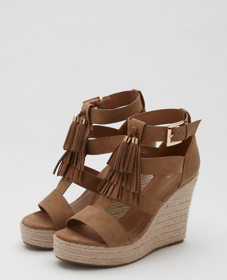 chaussures classiques valeur formidable france pas cher vente Sandales compensées beige ficelle … | Chaussure a talon ...