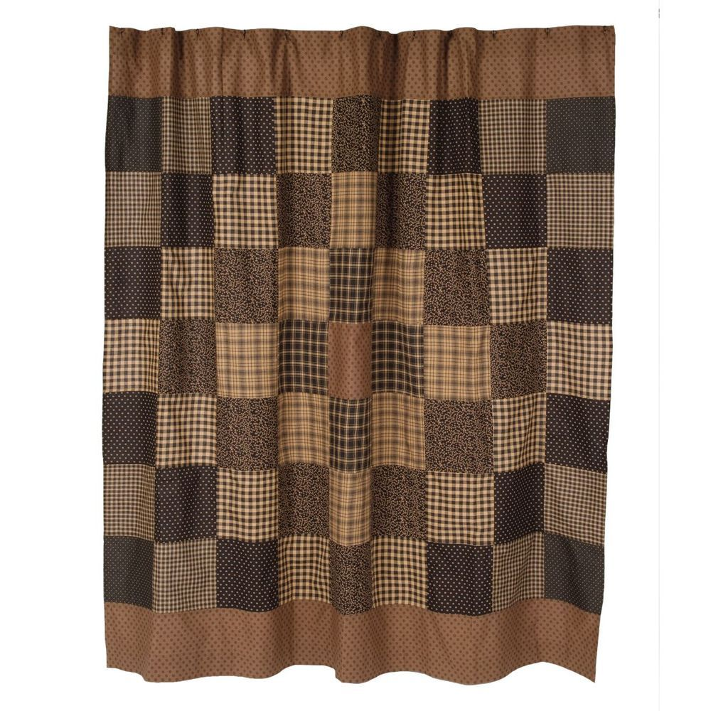 Black and tan shower curtains - New Country Primitive Colfax Black Tan Cabin Quilt Block Fabric Shower Curtain Country