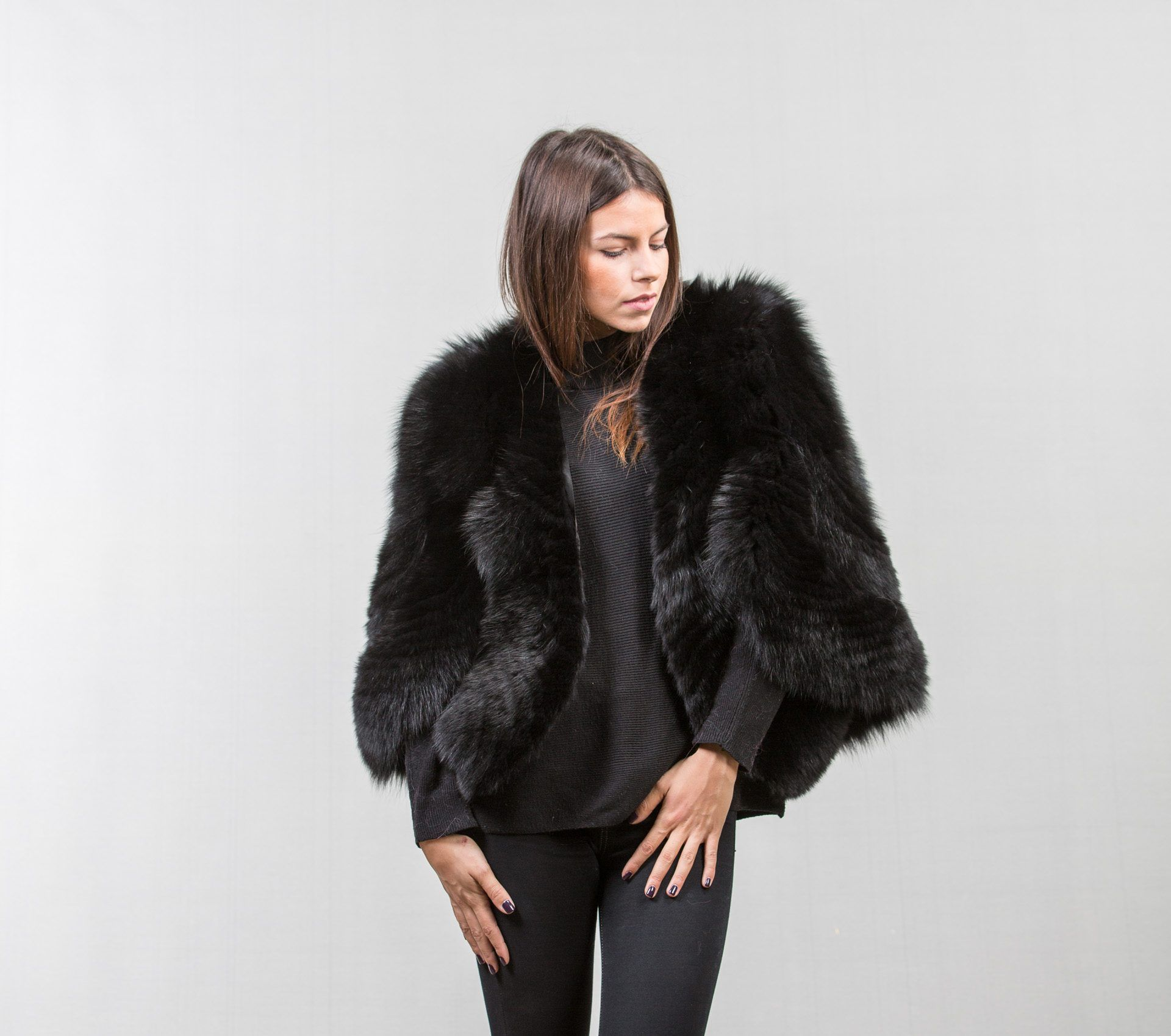 05fdbd81dd244 Black fox fur cape  saga  black  fox  fur  cape  coat  jacket  real  classy   style  fashion  wear  elegant  chic  haute