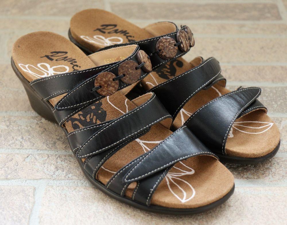 6f8b4ed673f4 Romika Maui Black Leather Open Toe Wedge Slides Sandals Womens 38 7  Adjustable  ROMIKA  Slides