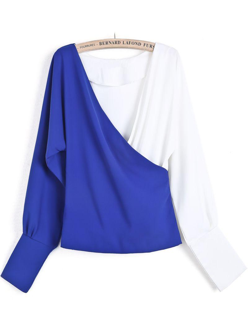633a777ac2f0 Blue Contrast White V Neck Loose Crop Blouse - Sheinside.com