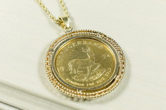 14k Yellow Gold 1974 1oz Krugerrand Fine Gold Coin In Bezel Pendant With 2mm Wide Rope Chain Necklace 19 Long 48 Gram Bezel Pendant Bezel Diamond Gold Coins