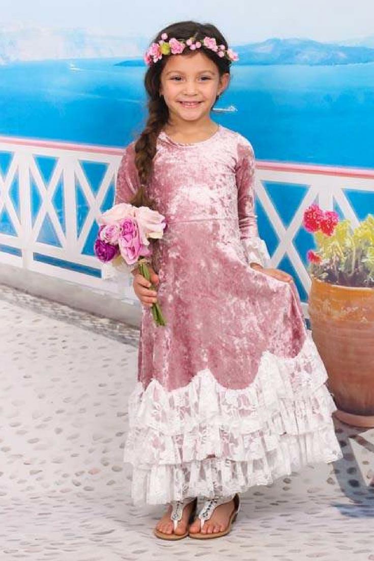 Mia belle girls pink lacetrim velvet bellsleeve maxi dress