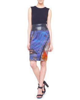 Akris punto Sleeveless Jersey Crewneck Top & Graffiti Jersey Pencil Skirt with Faux-Leather Trim